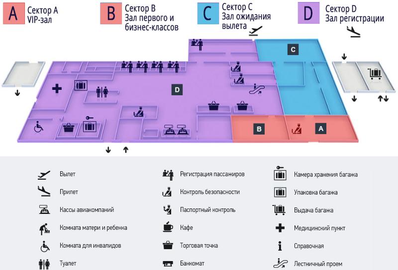 Аэропорт Анапы Витязево: схема терминала