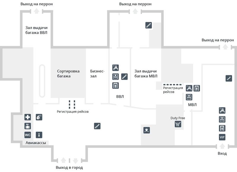 Аэропорт Астрахань: план 1 этажа аэровокзала