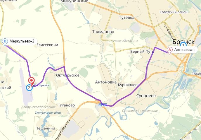 Автобус Брянск-Аэропорт: схема движения