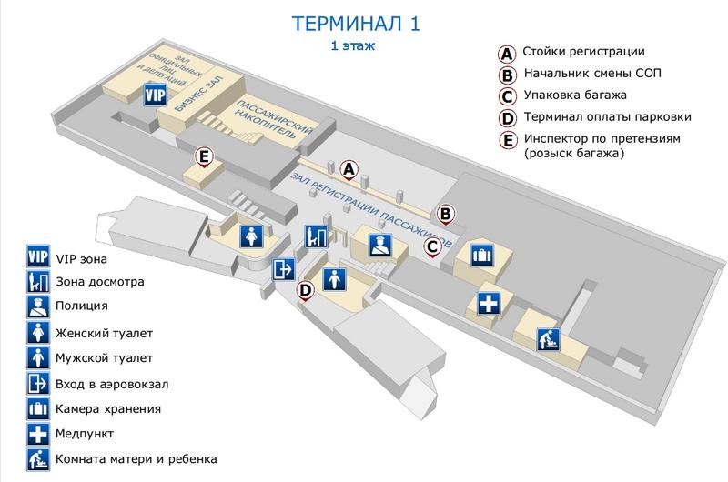 Аэропорт Нижневартовск: схема терминала 1, 1 этаж