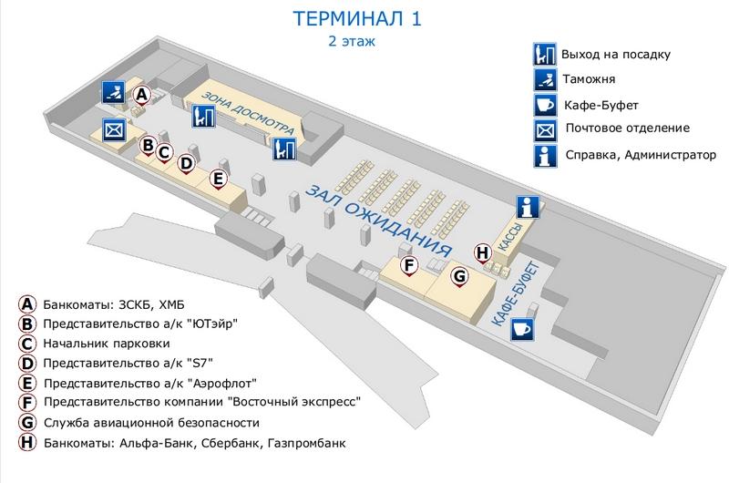 Аэропорт Нижневартовск: схема терминала 1, 2 этаж