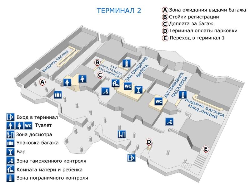 Аэропорт Нижневартовск: схема терминала 2, 1 этаж