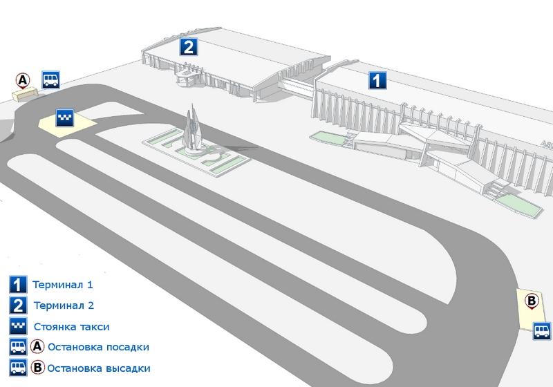Расположение автобусных остановок в аэропорту Нижневартовска