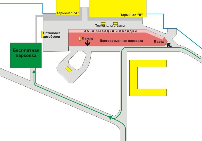 Схема парковок в аэропорту Омск