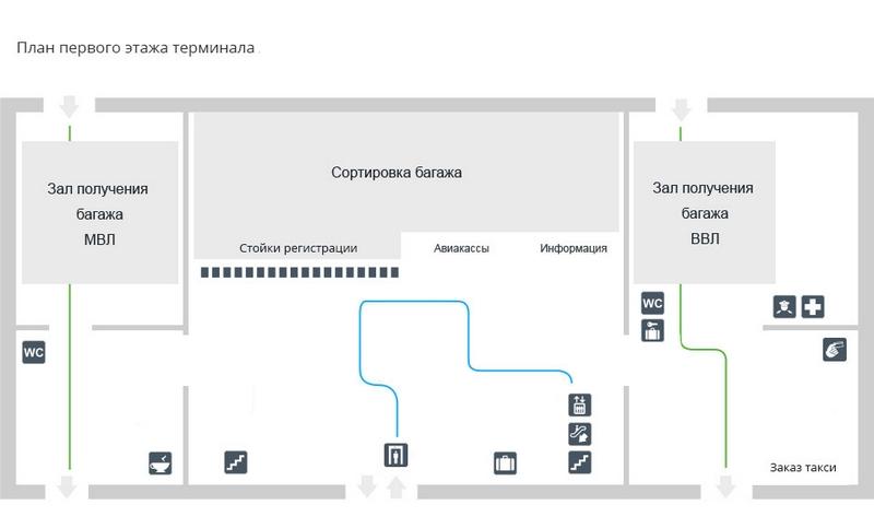 Аэропорт Богашево: схема пассажирского терминала аэропорта Томск