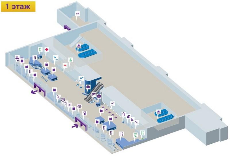 "Аэропорт Владивосток: схема 1 этажа терминала ""А"""
