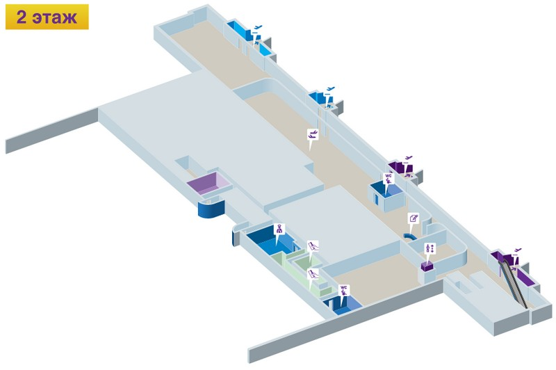 "Аэропорт Владивосток: схема 2 этажа терминала ""А"""