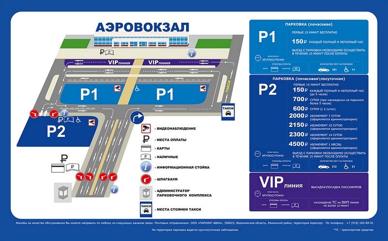 Платная парковка аэропорт Воронеж: цена и расположение