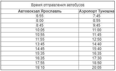 расписание автобуса №183 Ярославль - аэропорт Туношна