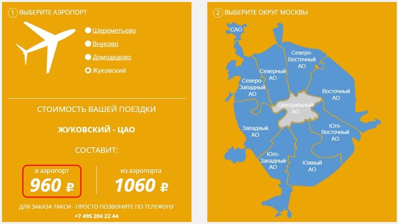 Такси в аэропорт Жуковский: цены Такси Цель