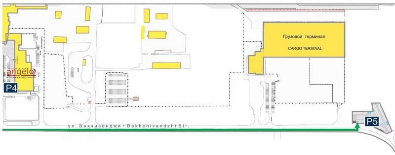 Аэропорт Кольцово: схема расположения стоянок Р4, Р5