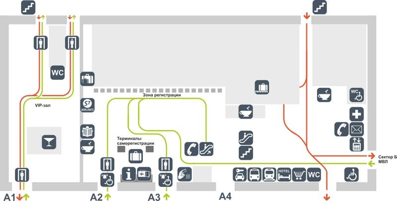 Схема аэропорта Толмачево: сектор А, этаж 1