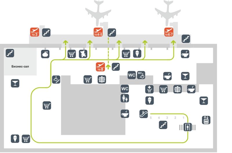 Схема аэропорта Толмачево: сектор А, этаж 2