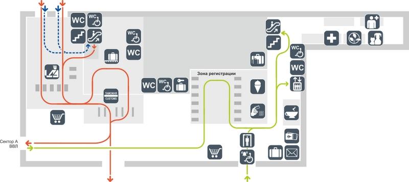 Схема аэропорта Толмачево: сектор Б, этаж 1