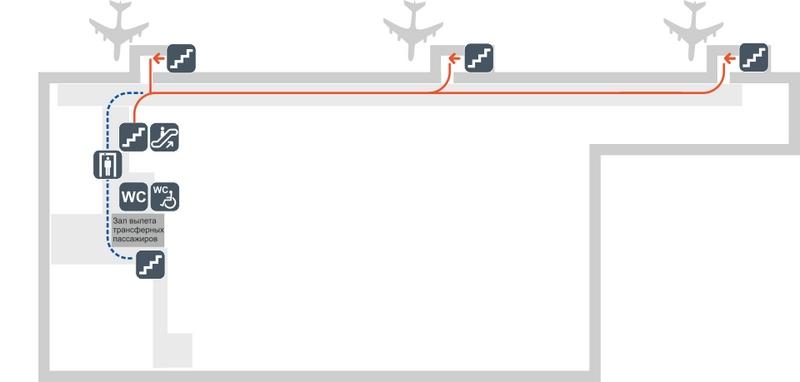 Схема аэропорта Толмачево: сектор Б, этаж 2
