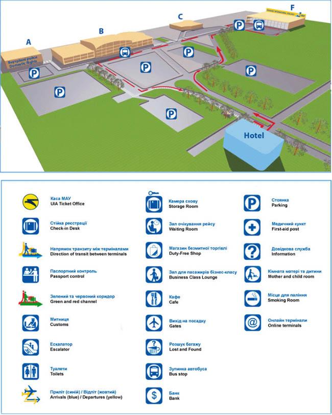 Схема расположения автостоянок на территории аэропорта Борисполь