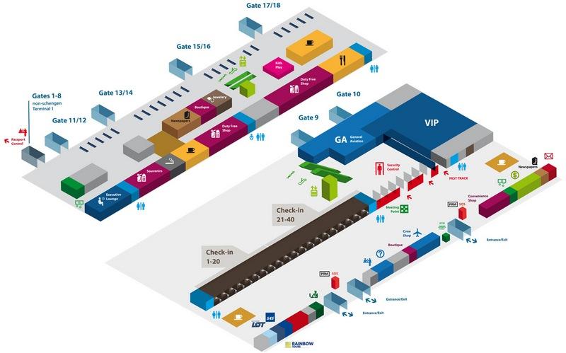 Схема терминала аэропорта Гданьска