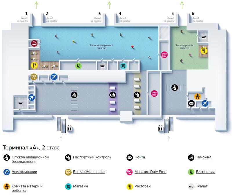 Аэропорт Харьков: схема терминала А, 2 этаж