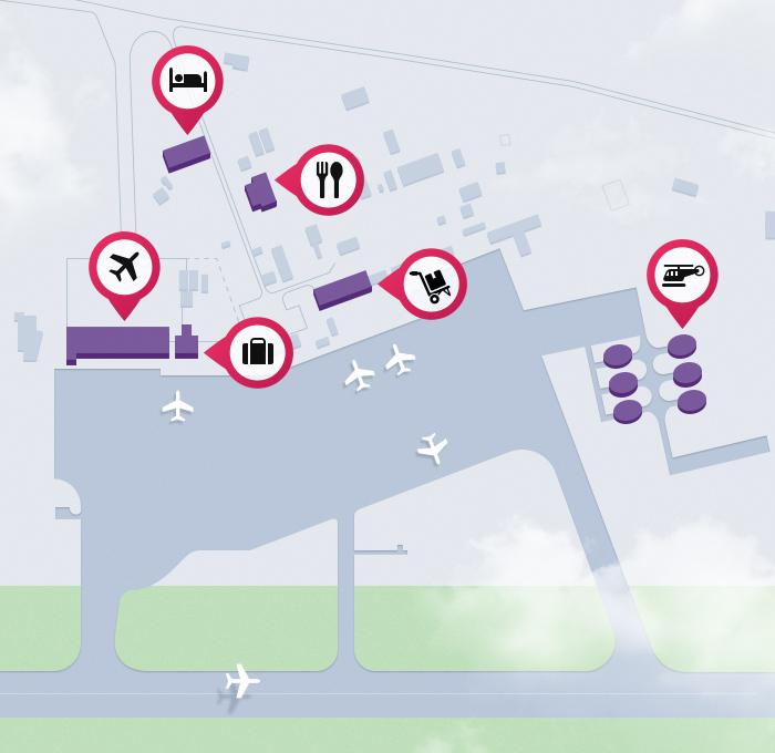 Схема аэропорта Уйташ, Махачкала