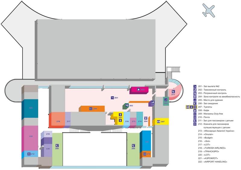 Аэропорт Одесса: схема терминала, 2 этаж