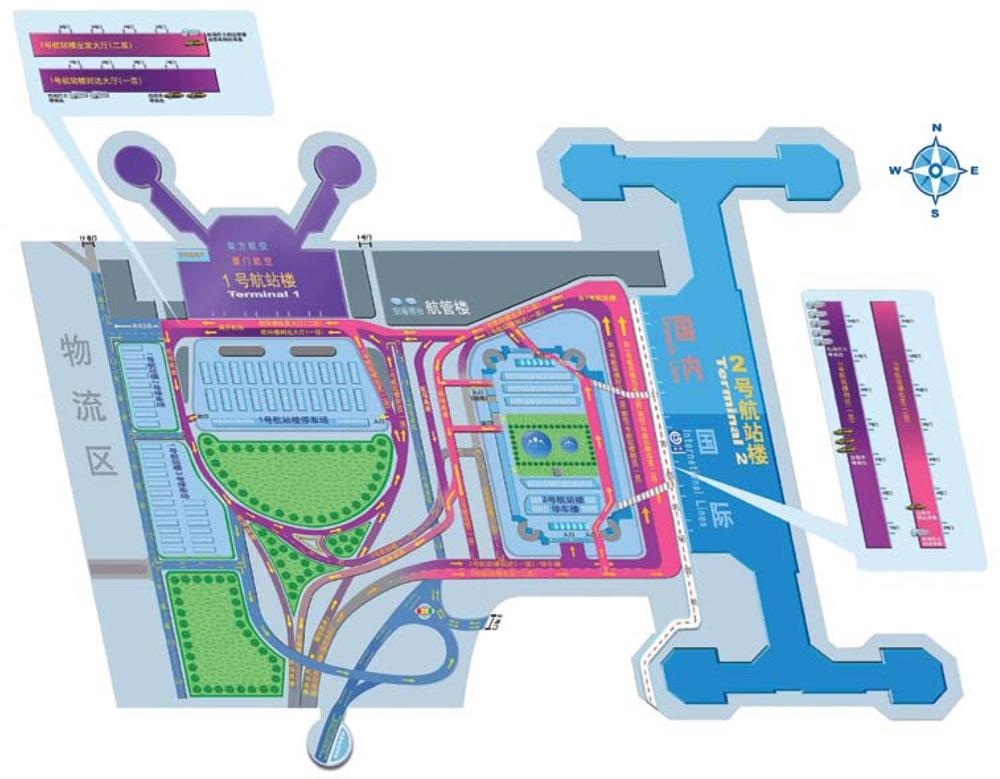 Схема терминалов Т1 и Т2 аэропорта Пекин