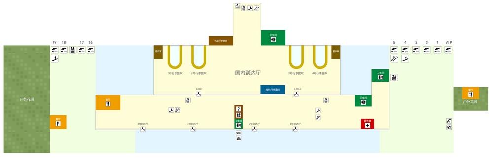 Схема аэропорта Санья: терминал 1, 1 этаж
