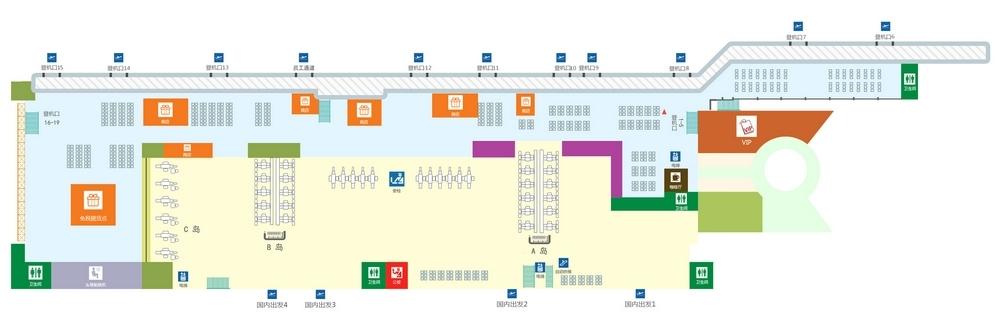 Схема аэропорта Санья: терминал 1, 2 этаж