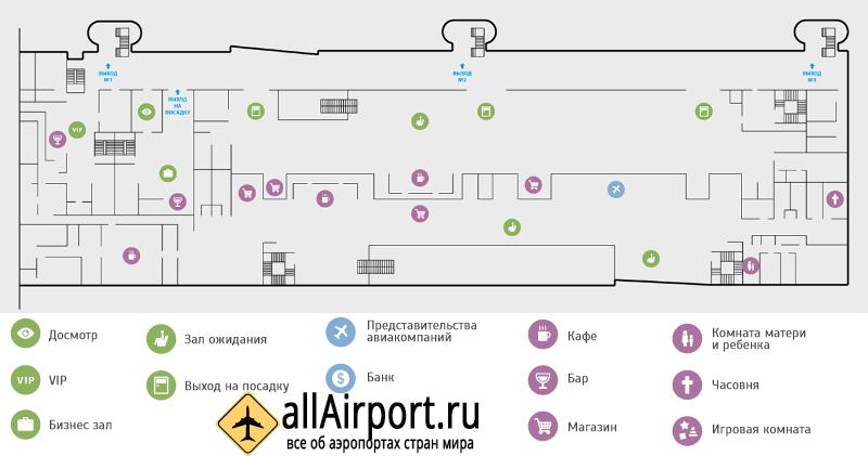 Схема пассажирского терминала аэропорта Якутск, 2 этаж