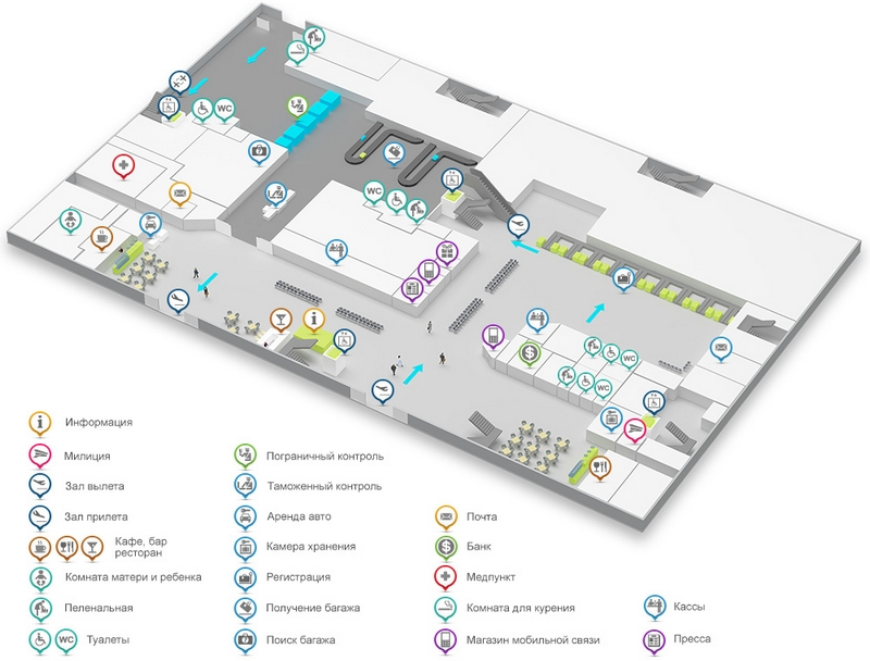 Аэропорт Киева Жуляны: схема международного терминала А, 1 этаж