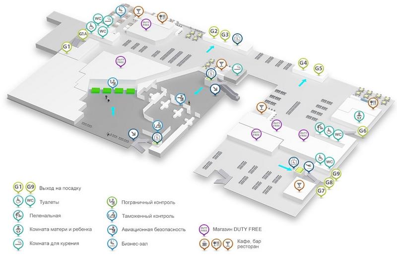 Аэропорт Киева Жуляны: схема международного терминала А, 2 этаж