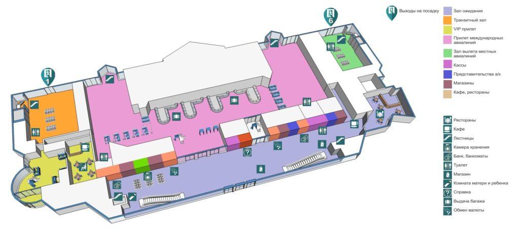 Аэропорт Алматы: пассажирский терминал, 1 этаж