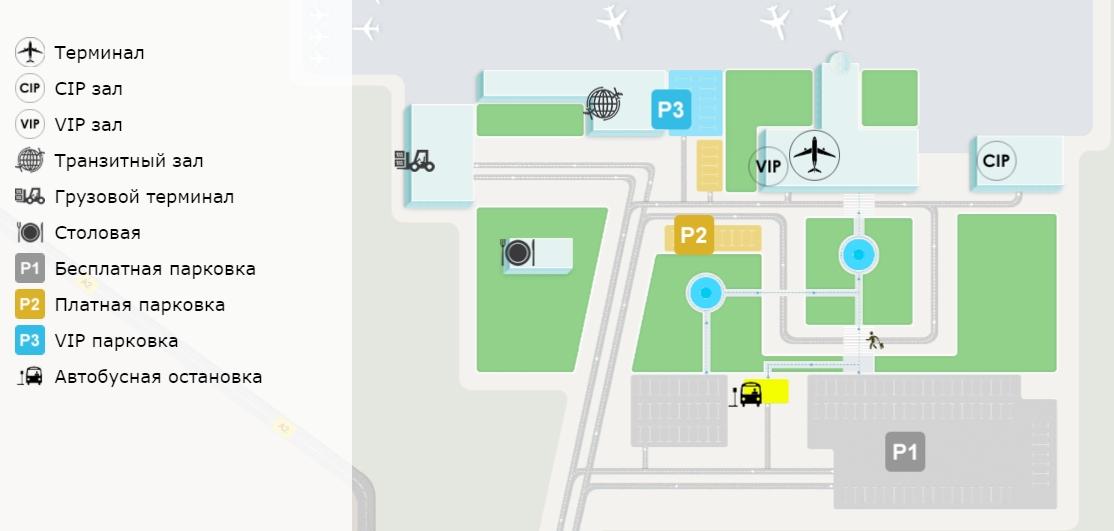 Схема аэропорта Шымкент