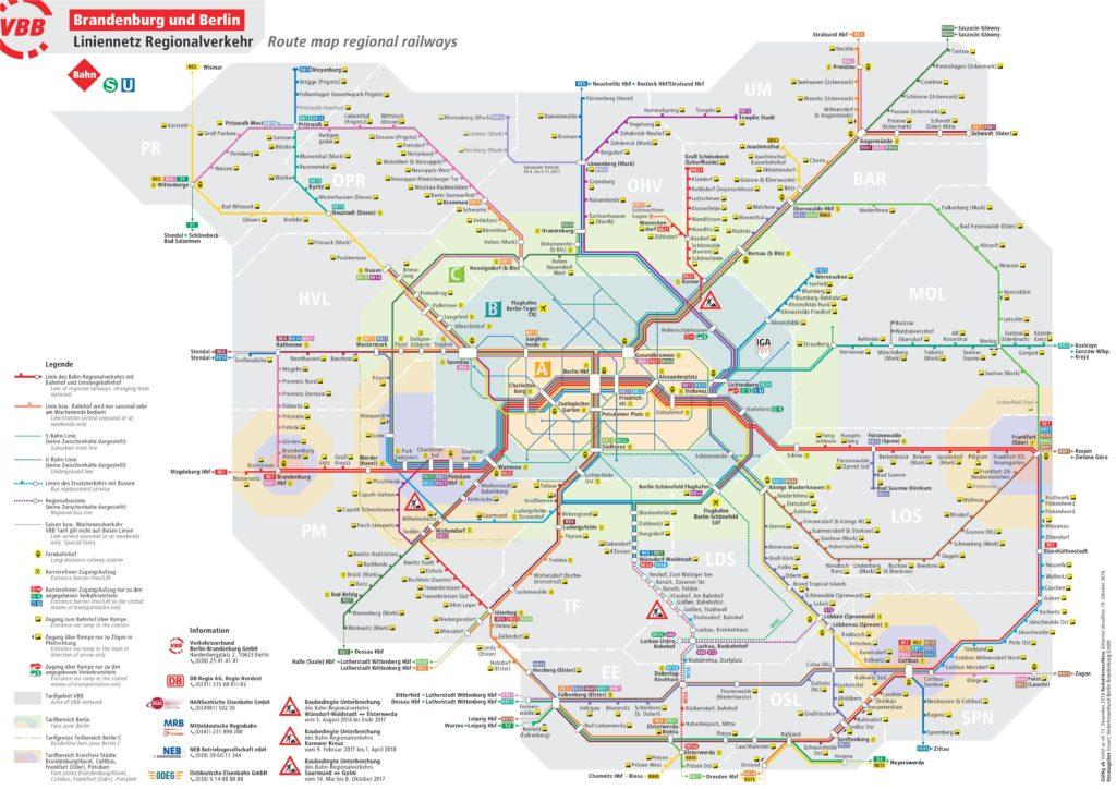 Схема движения региональных поездов Берлина и Бранденбурга