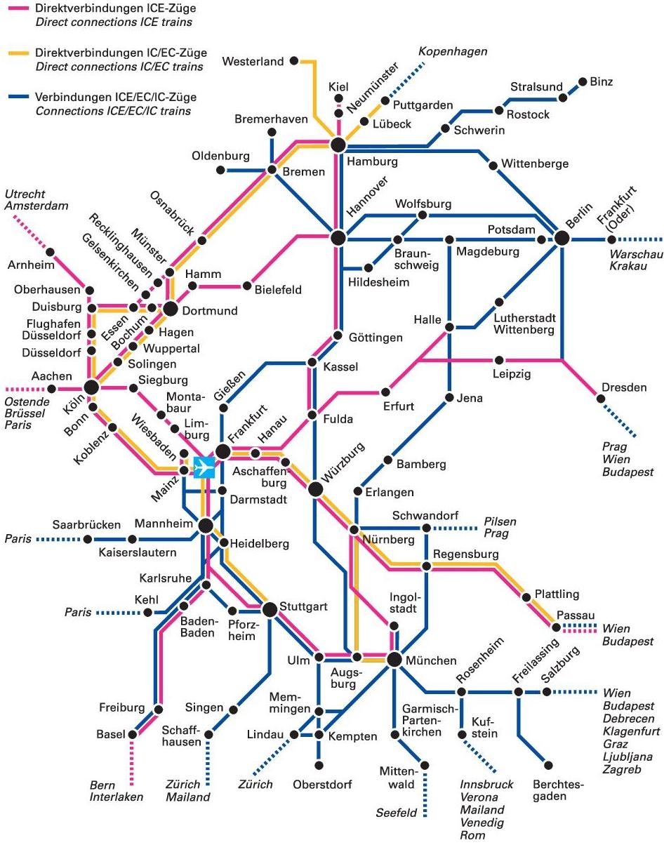 Схема движения поездов дальнего следования из аэропорта Франкфурта