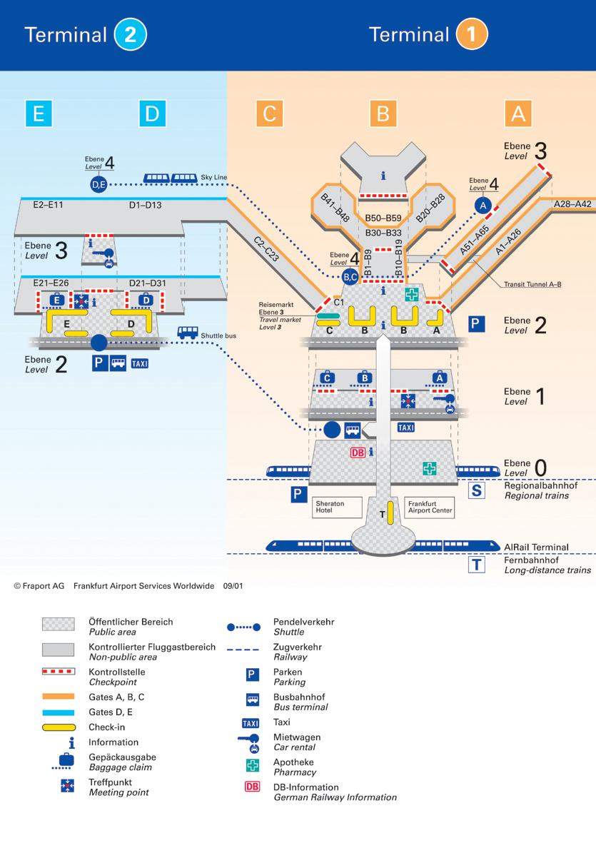 Схема терминалов аэропорта Франкфурта