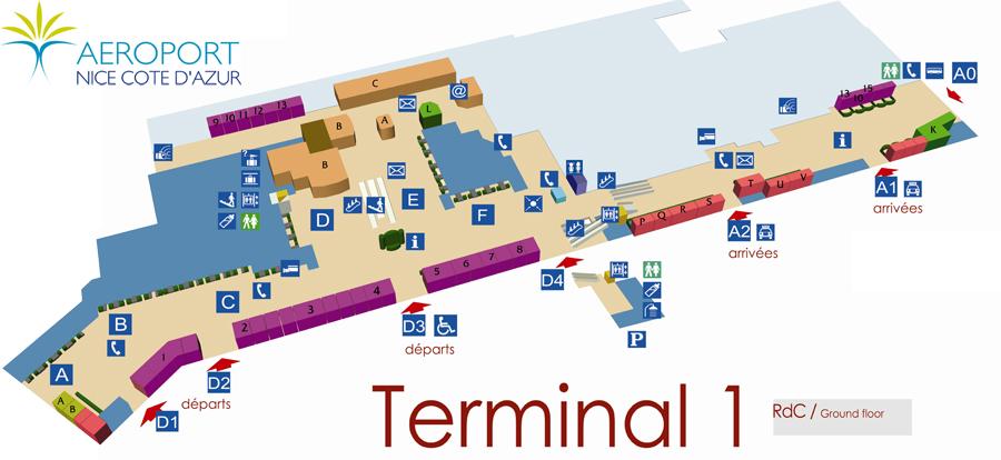 Схема Терминала 1 аэропорта Ниццы