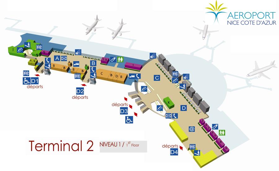 Схема Терминала 2 аэропорта Ниццы