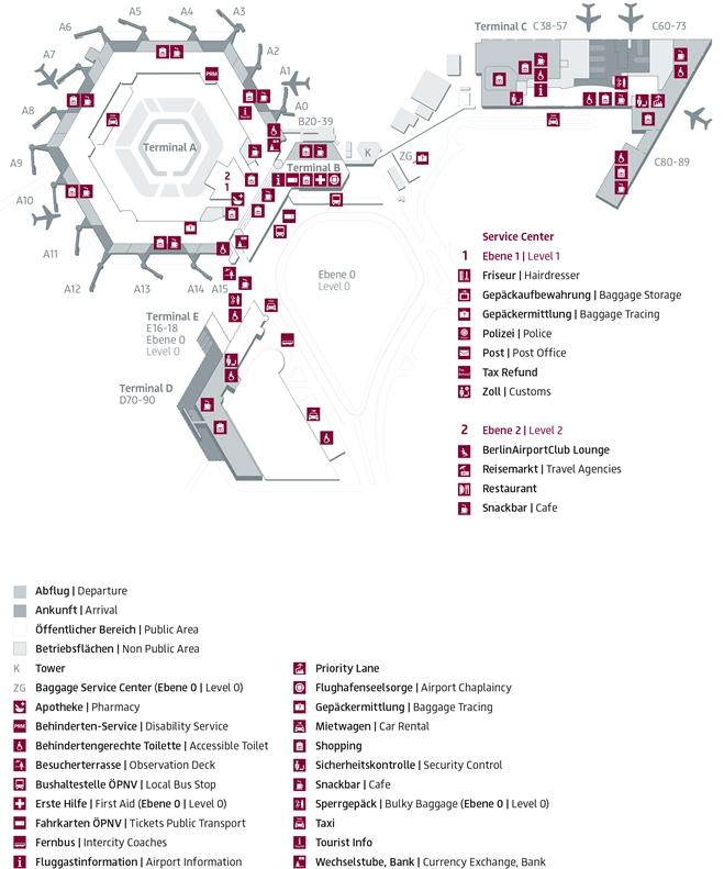 Схема терминалов аэропорта Берлина Тегель