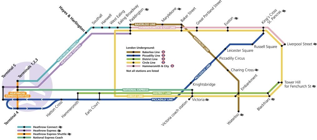 Схема метро и поездов аэропорта Хитроу