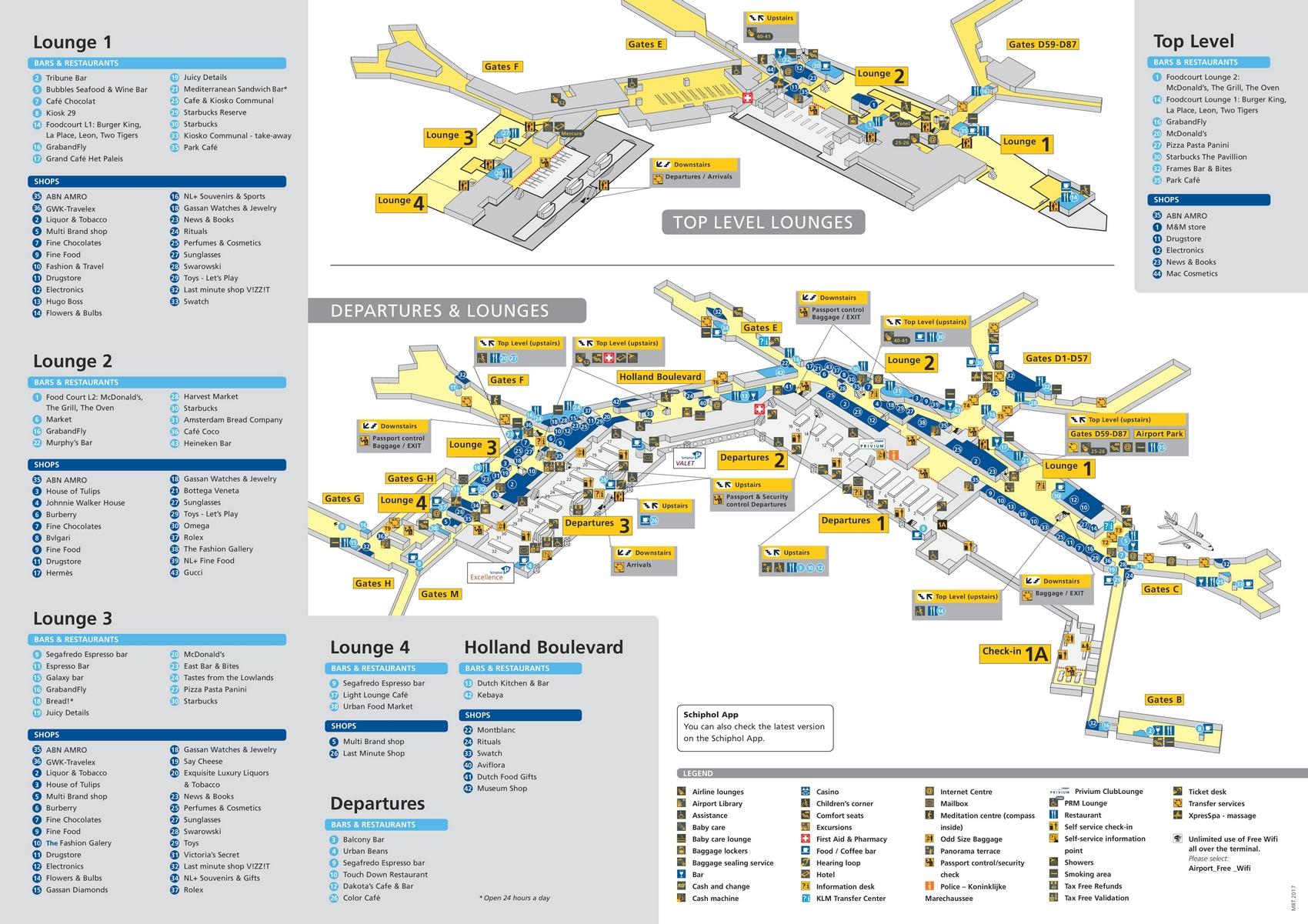 Схема аэропорта Амстердама, зона вылета