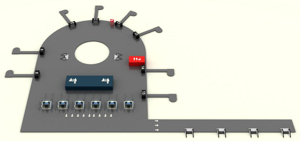Т1, цокольный этаж, зона прибытия, паспортный контроль