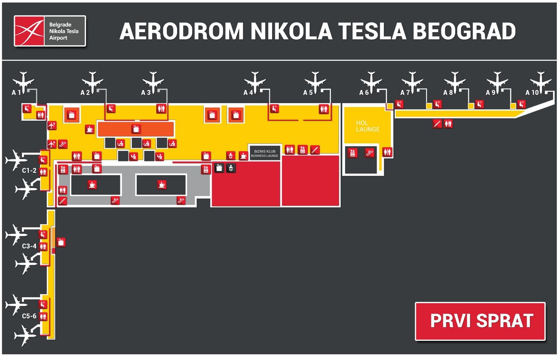 Схема терминалов аэропорта Белграда: первый уровень