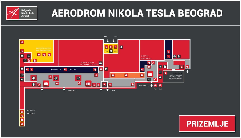 Схема терминалов аэропорта Белграда:верхний уровень