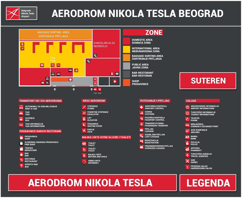 Схема терминалов аэропорта Белграда: подземный уровень