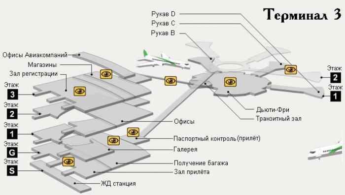 Схема аэропорта Бен-Гурион: терминал 3