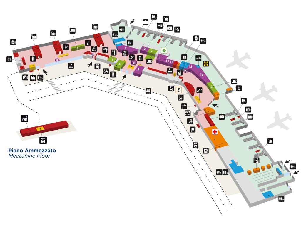 Схема терминала аэропорта Болоньи: нижний уровень
