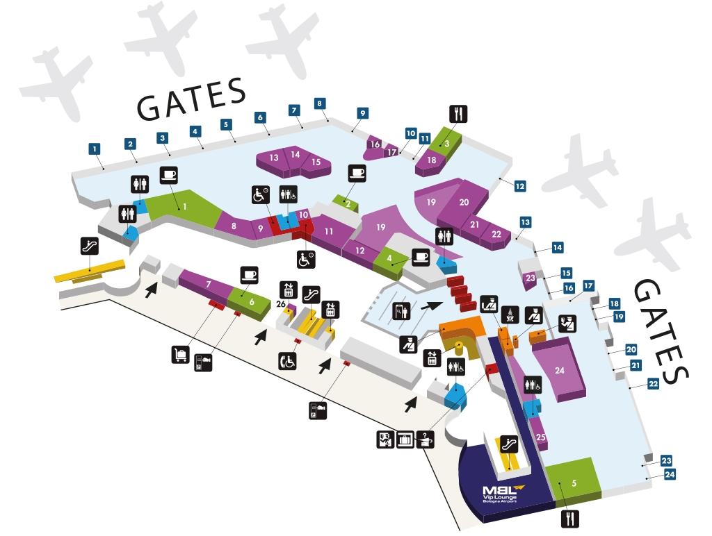 Схема терминала аэропорта Болоньи: верхний уровень