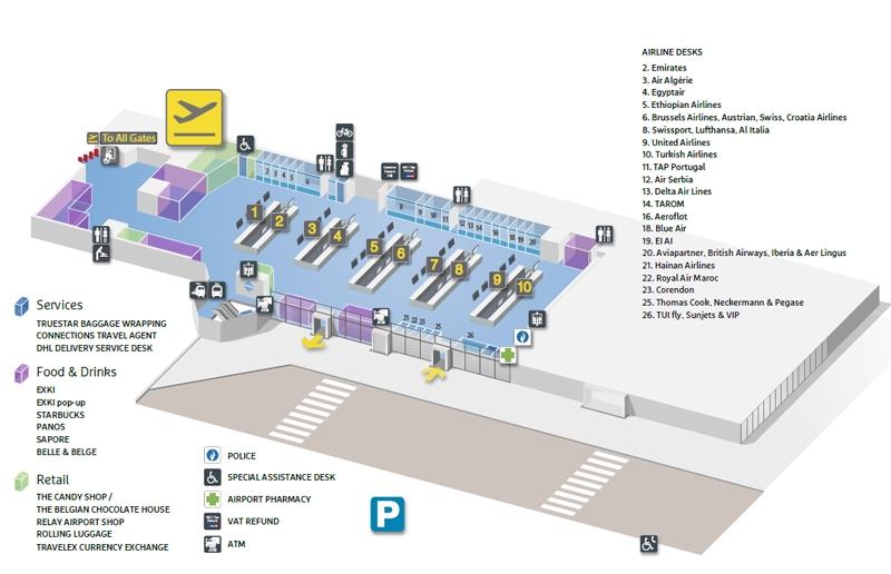 Схема аэропорта Брюсселя: зона вылета