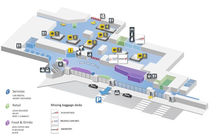 Схема аэропорта Брюсселя: зона прилета