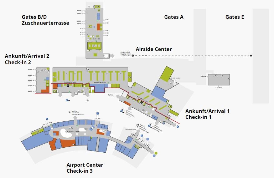 Схема аэропорта Цюриха: 0 уровень